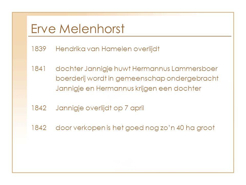 Erve Melenhorst 1839Hendrika van Hamelen overlijdt 1841dochter Jannigje huwt Hermannus Lammersboer boerderij wordt in gemeenschap ondergebracht Jannig