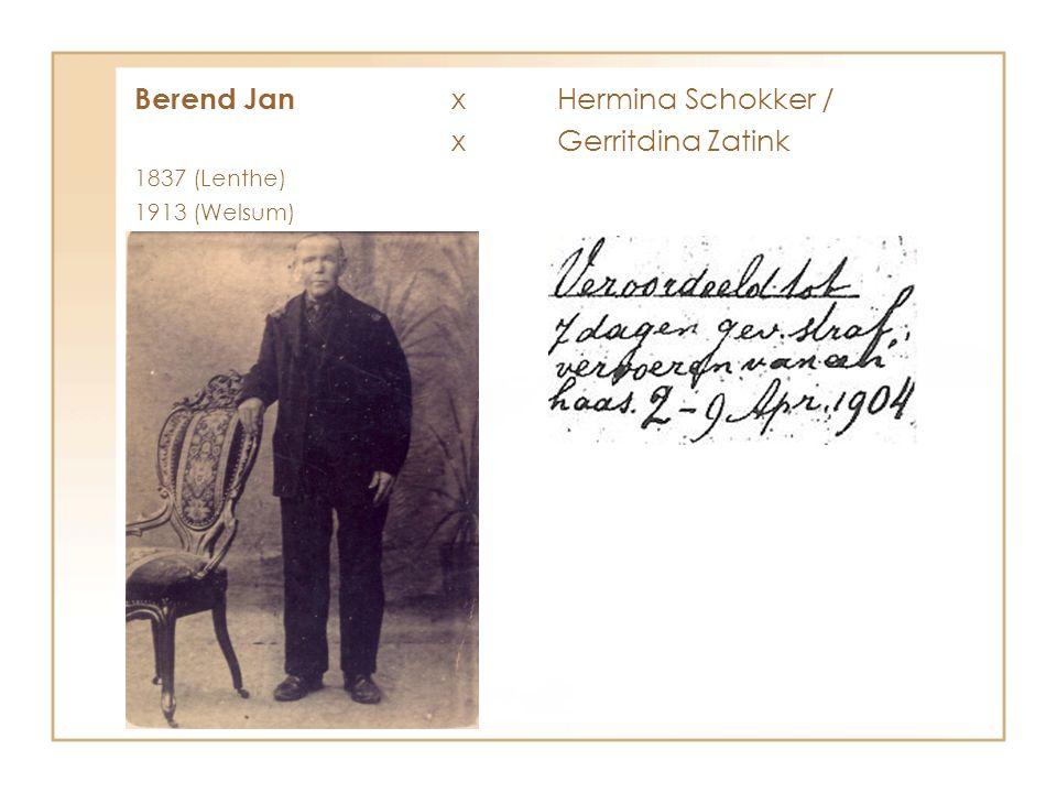 Berend Jan xHermina Schokker / xGerritdina Zatink 1837 (Lenthe) 1913 (Welsum)