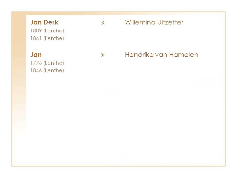 Jan Derk xWillemina Uitzetter 1809 (Lenthe) 1861 (Lenthe) Jan xHendrika van Hamelen 1776 (Lenthe) 1846 (Lenthe)