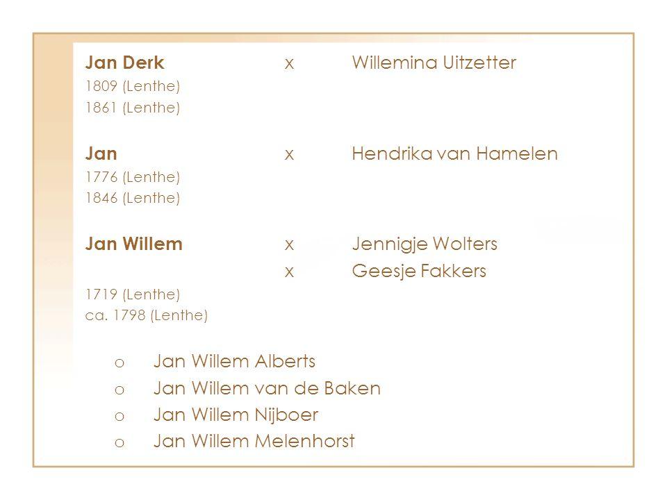 Jan Derk xWillemina Uitzetter 1809 (Lenthe) 1861 (Lenthe) Jan xHendrika van Hamelen 1776 (Lenthe) 1846 (Lenthe) Jan Willem xJennigje Wolters xGeesje F