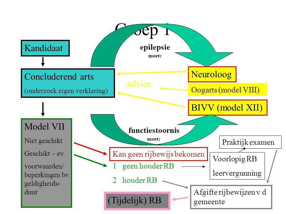 Groep 1 Kandidaat Concluderend arts (onderzoek eigen verklaring) Neuroloog BIVV (model XII) epilepsie moet: functiestoornis moet: advies Model VII Nie