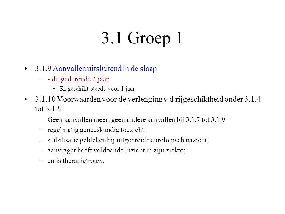 3.1 Groep 1 •3.1.9 Aanvallen uitsluitend in de slaap –- dit gedurende 2 jaar •Rijgeschikt steeds voor 1 jaar •3.1.10 Voorwaarden voor de verlenging v