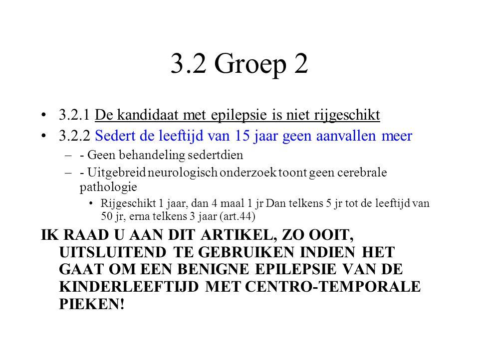 3.2 Groep 2 •3.2.1 De kandidaat met epilepsie is niet rijgeschikt •3.2.2 Sedert de leeftijd van 15 jaar geen aanvallen meer –- Geen behandeling sedert