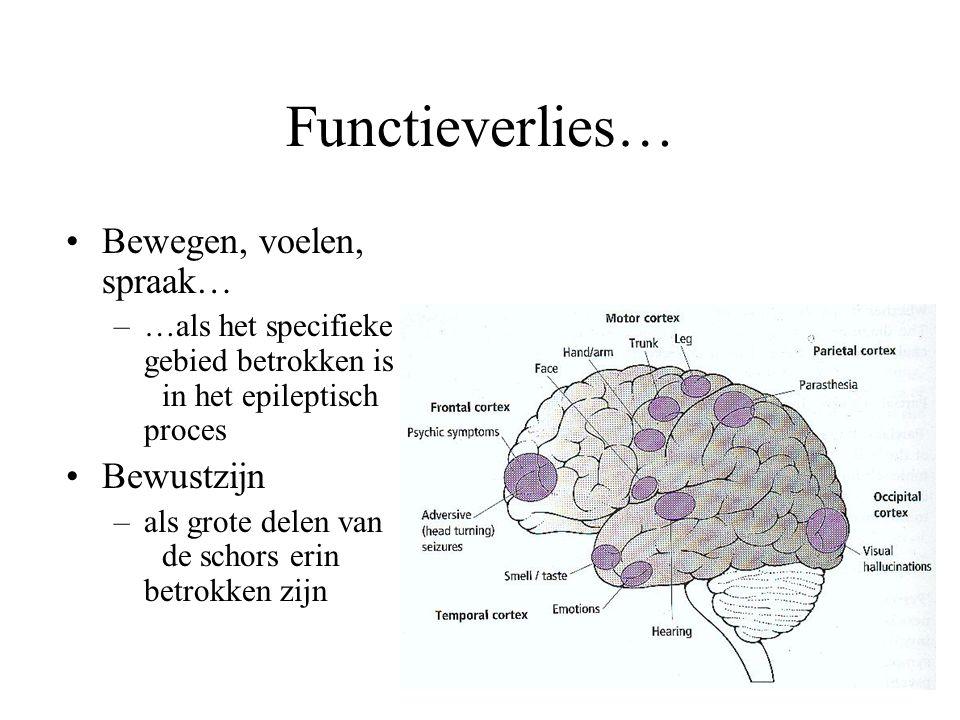 Functieverlies… •Bewegen, voelen, spraak… –…als het specifieke gebied betrokken is in het epileptisch proces •Bewustzijn –als grote delen van de schor