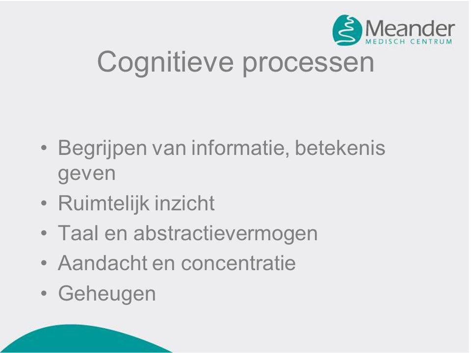 Cognitieve processen •Begrijpen van informatie, betekenis geven •Ruimtelijk inzicht •Taal en abstractievermogen •Aandacht en concentratie •Geheugen