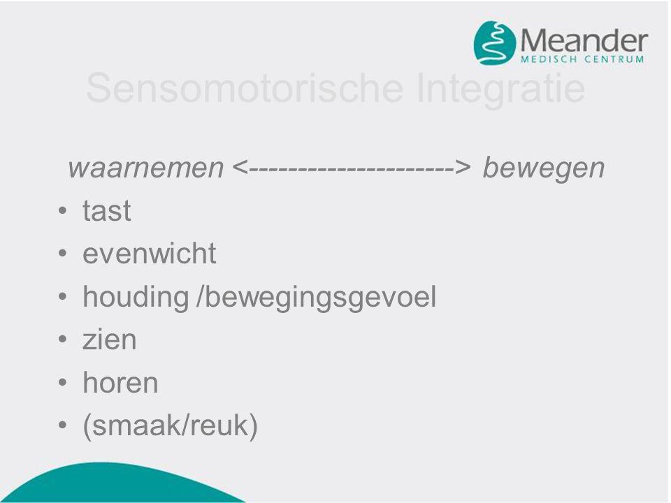 Sensomotorische Integratie waarnemen bewegen •tast •evenwicht •houding /bewegingsgevoel •zien •horen •(smaak/reuk)