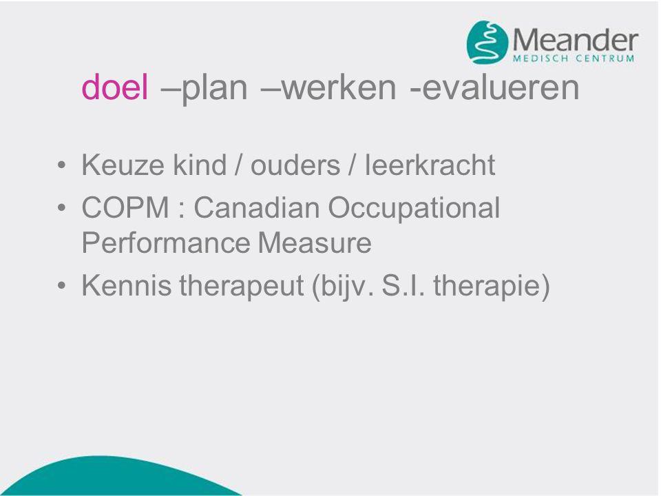 •Keuze kind / ouders / leerkracht •COPM : Canadian Occupational Performance Measure •Kennis therapeut (bijv. S.I. therapie)