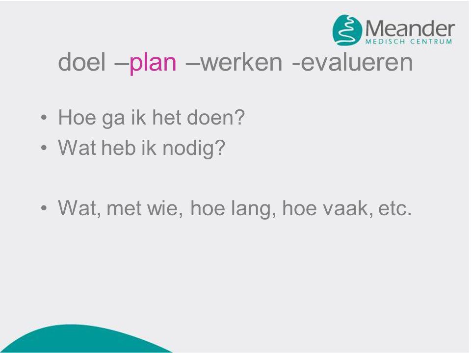 doel –plan –werken -evalueren •Hoe ga ik het doen? •Wat heb ik nodig? •Wat, met wie, hoe lang, hoe vaak, etc.