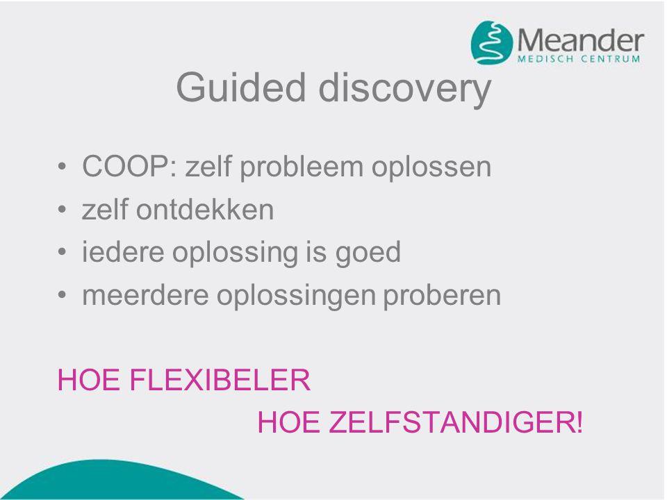 Guided discovery •COOP: zelf probleem oplossen •zelf ontdekken •iedere oplossing is goed •meerdere oplossingen proberen HOE FLEXIBELER HOE ZELFSTANDIG