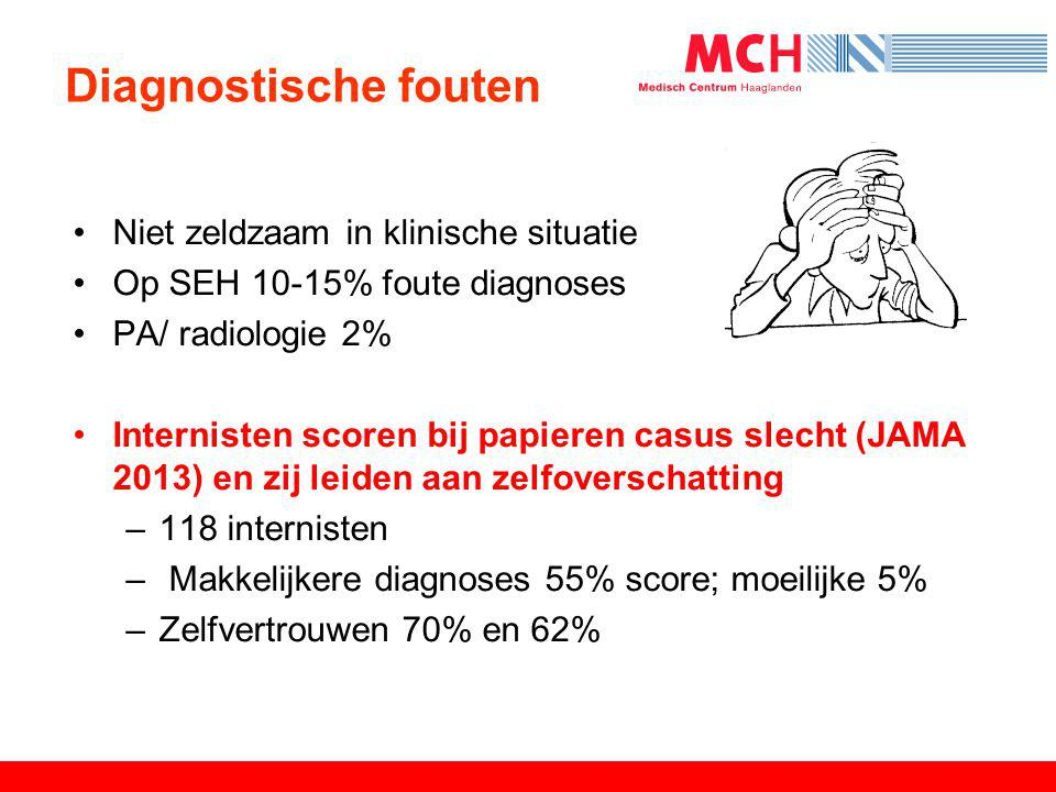 Diagnostische fouten •Niet zeldzaam in klinische situatie •Op SEH 10-15% foute diagnoses •PA/ radiologie 2% •Internisten scoren bij papieren casus sle