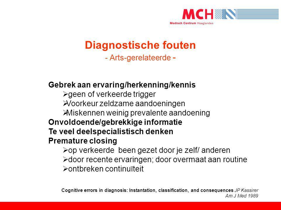 Diagnostische fouten - Arts-gerelateerde - Gebrek aan ervaring/herkenning/kennis  geen of verkeerde trigger  Voorkeur zeldzame aandoeningen  Misken