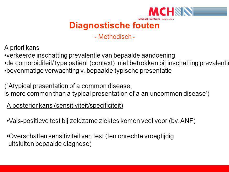 Diagnostische fouten - Methodisch - A priori kans •verkeerde inschatting prevalentie van bepaalde aandoening •de comorbiditeit/ type patiënt (context)