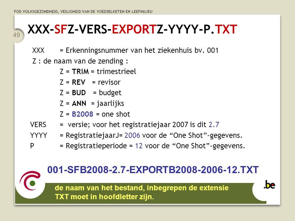 FOD VOLKSGEZONDHEID, VEILIGHEID VAN DE VOEDSELKETEN EN LEEFMILIEU 49 XXX-SFZ-VERS-EXPORTZ-YYYY-P.TXT XXX= Erkenningsnummer van het ziekenhuis bv. 001