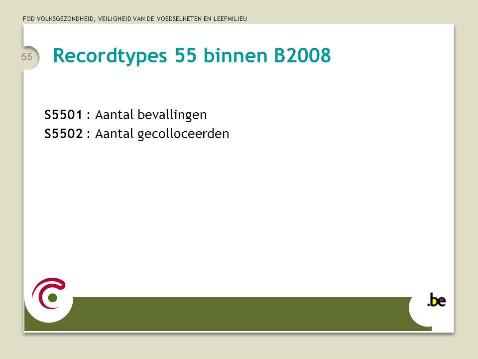 FOD VOLKSGEZONDHEID, VEILIGHEID VAN DE VOEDSELKETEN EN LEEFMILIEU 55 S5501 : Aantal bevallingen S5502 : Aantal gecolloceerden Recordtypes 55 binnen B2