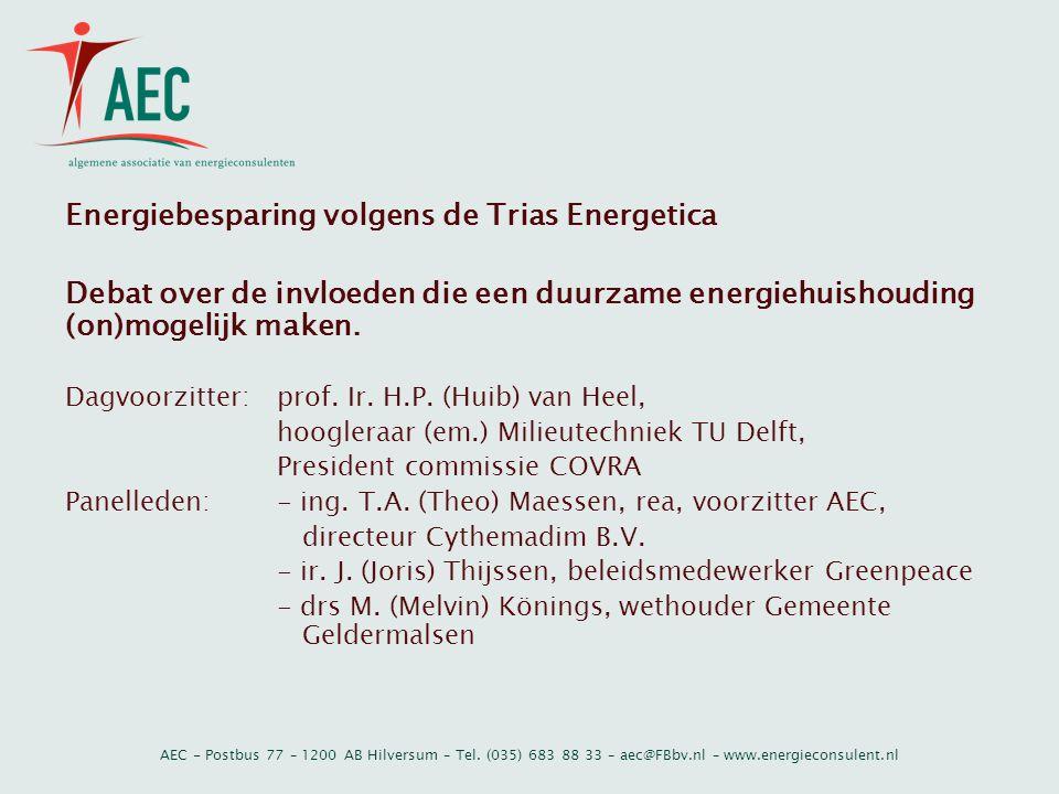 AEC - Postbus 77 – 1200 AB Hilversum – Tel. (035) 683 88 33 – aec@FBbv.nl – www.energieconsulent.nl Energiebesparing volgens de Trias Energetica Debat