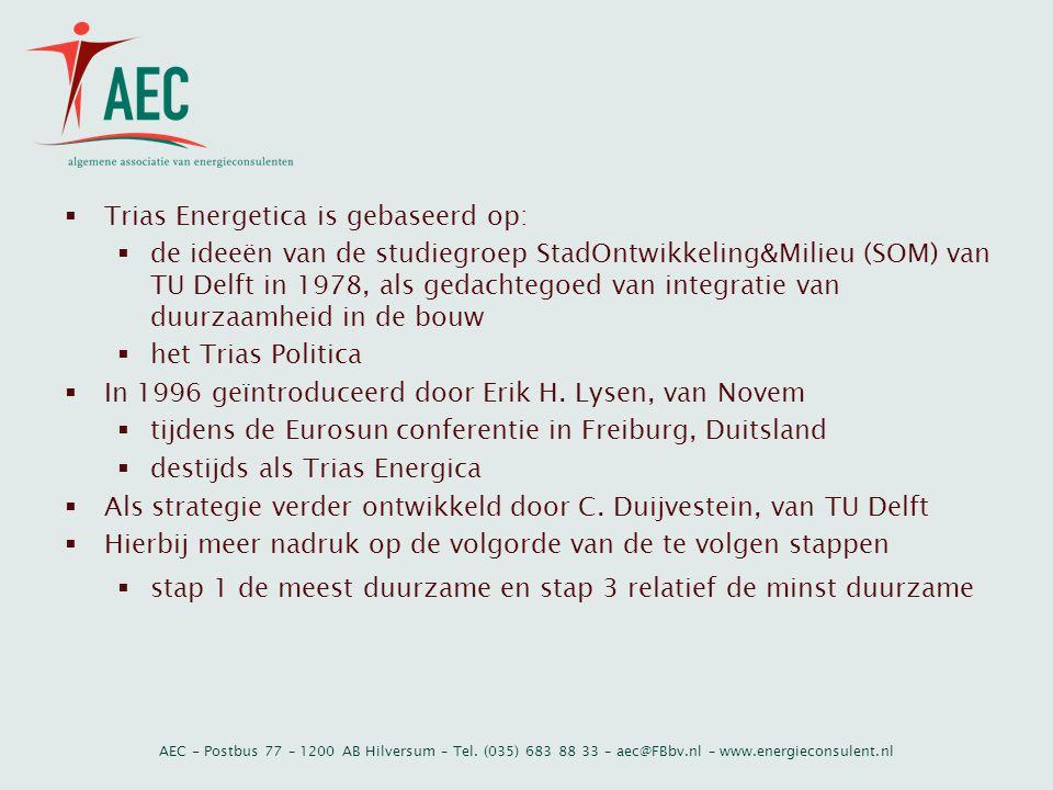AEC - Postbus 77 – 1200 AB Hilversum – Tel. (035) 683 88 33 – aec@FBbv.nl – www.energieconsulent.nl  Trias Energetica is gebaseerd op:  de ideeën va