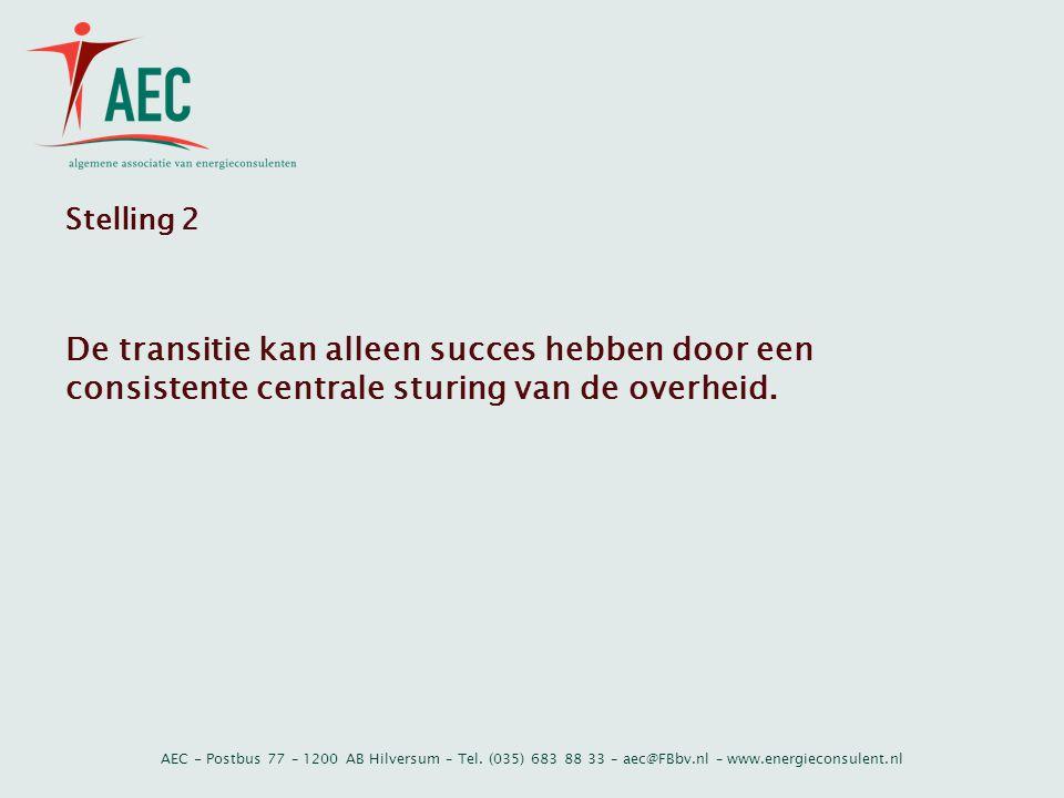 AEC - Postbus 77 – 1200 AB Hilversum – Tel. (035) 683 88 33 – aec@FBbv.nl – www.energieconsulent.nl Stelling 2 De transitie kan alleen succes hebben d