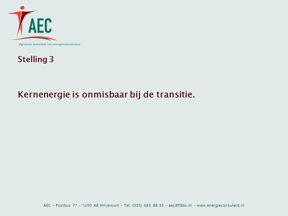 AEC - Postbus 77 – 1200 AB Hilversum – Tel. (035) 683 88 33 – aec@FBbv.nl – www.energieconsulent.nl Stelling 3 Kernenergie is onmisbaar bij de transit