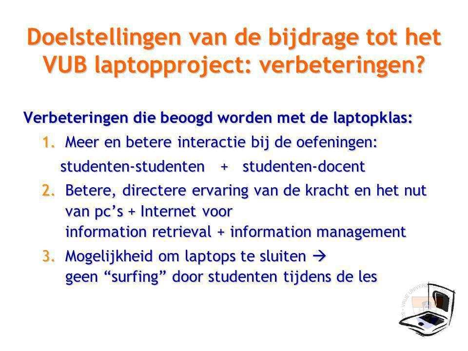 Doelstellingen van de bijdrage tot het VUB laptopproject: verbeteringen.