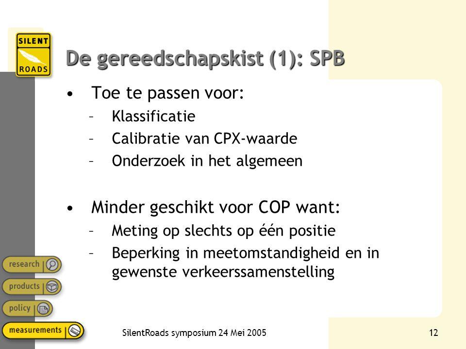 SilentRoads symposium 24 Mei 200512 De gereedschapskist (1): SPB •Toe te passen voor: –Klassificatie –Calibratie van CPX-waarde –Onderzoek in het alge