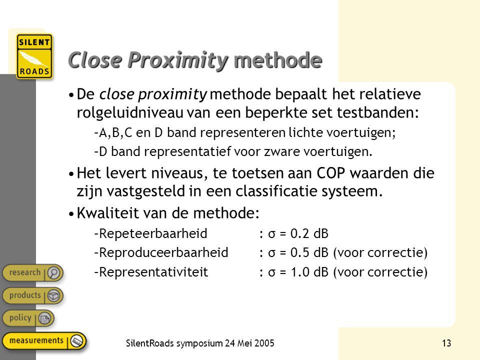 SilentRoads symposium 24 Mei 200513 Close Proximity methode •De close proximity methode bepaalt het relatieve rolgeluidniveau van een beperkte set tes