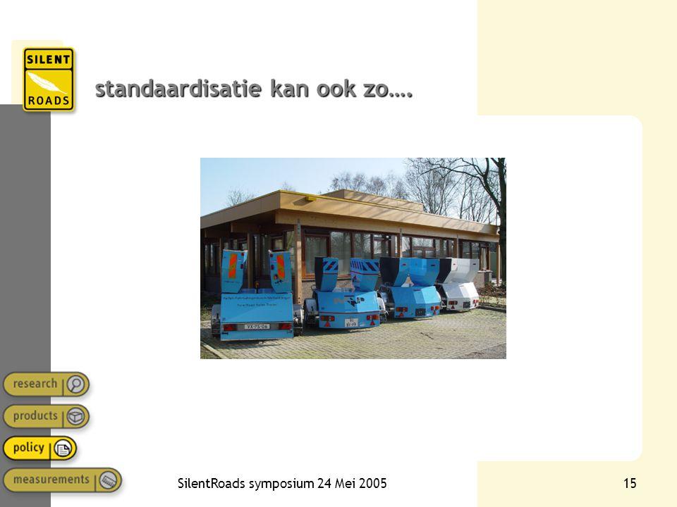 SilentRoads symposium 24 Mei 200515 standaardisatie kan ook zo….