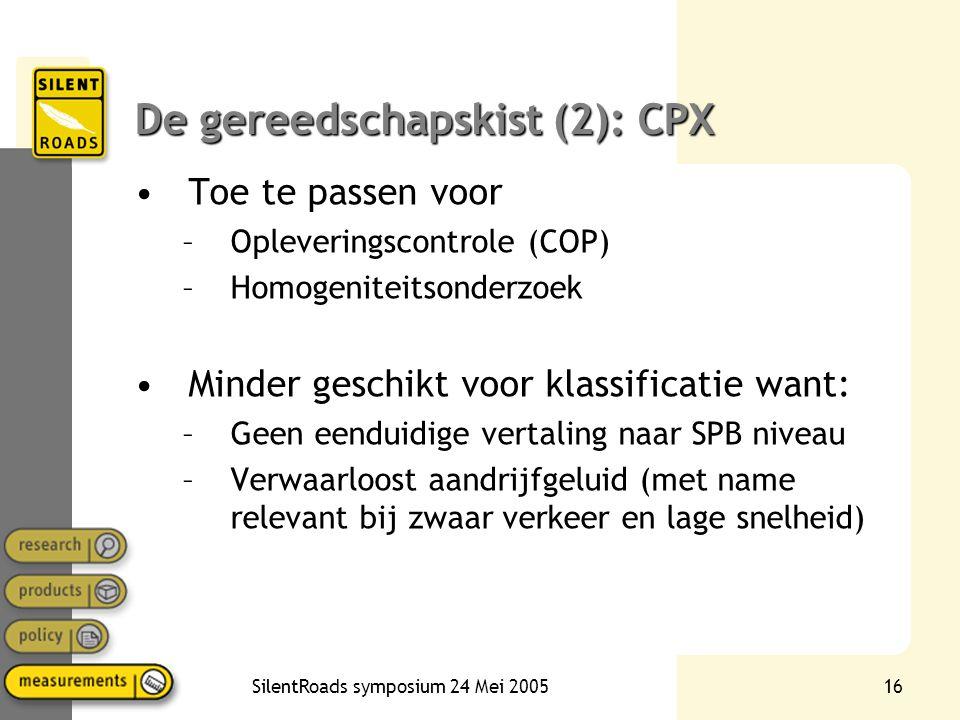SilentRoads symposium 24 Mei 200516 De gereedschapskist (2): CPX •Toe te passen voor –Opleveringscontrole (COP) –Homogeniteitsonderzoek •Minder geschi