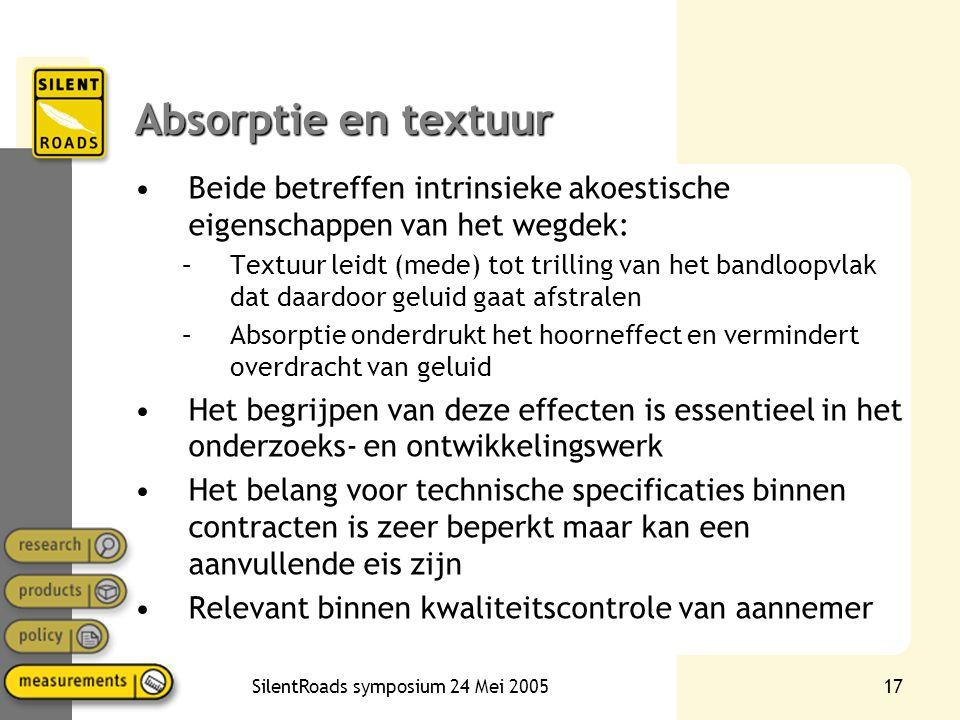 SilentRoads symposium 24 Mei 200517 Absorptie en textuur •Beide betreffen intrinsieke akoestische eigenschappen van het wegdek: –Textuur leidt (mede)