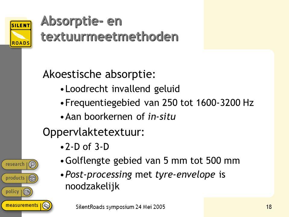 SilentRoads symposium 24 Mei 200518 Absorptie- en textuurmeetmethoden Akoestische absorptie: •Loodrecht invallend geluid •Frequentiegebied van 250 tot