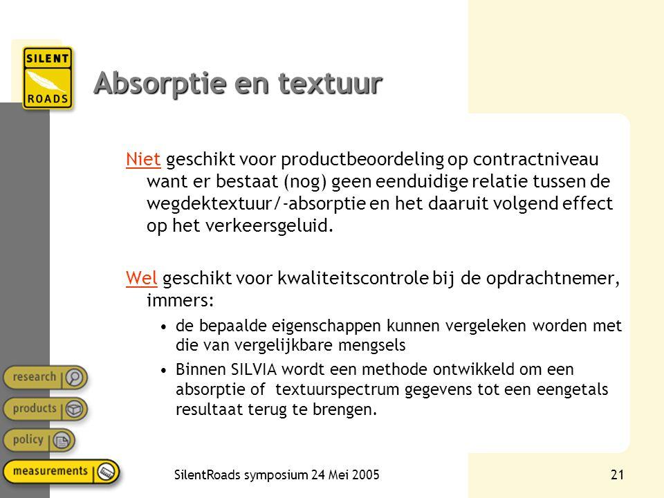 SilentRoads symposium 24 Mei 200521 Absorptie en textuur Niet geschikt voor productbeoordeling op contractniveau want er bestaat (nog) geen eenduidige