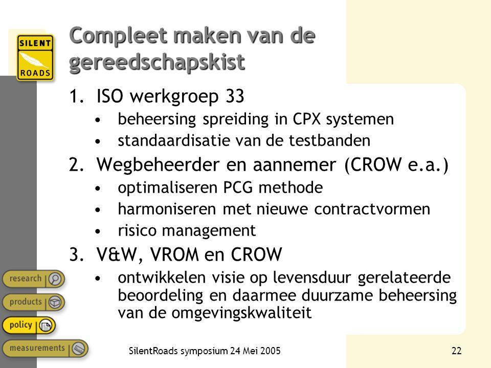 SilentRoads symposium 24 Mei 200522 Compleet maken van de gereedschapskist 1.ISO werkgroep 33 •beheersing spreiding in CPX systemen •standaardisatie van de testbanden 2.Wegbeheerder en aannemer (CROW e.a.) •optimaliseren PCG methode •harmoniseren met nieuwe contractvormen •risico management 3.V&W, VROM en CROW •ontwikkelen visie op levensduur gerelateerde beoordeling en daarmee duurzame beheersing van de omgevingskwaliteit