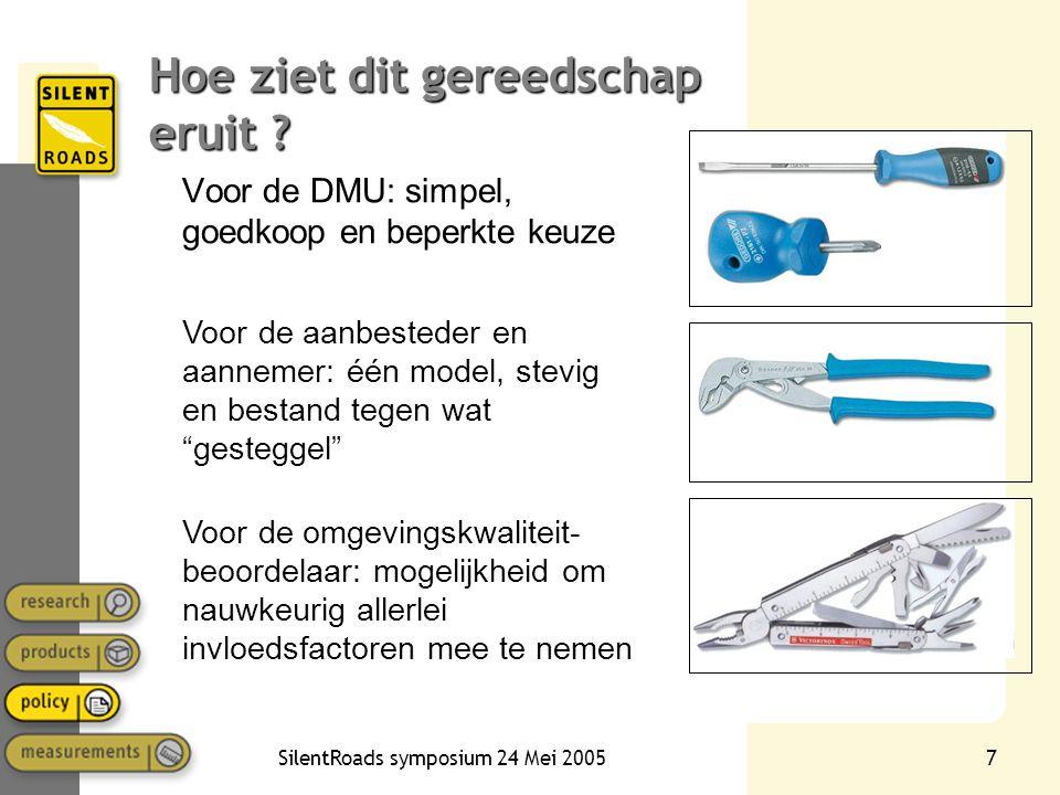 SilentRoads symposium 24 Mei 20057 Hoe ziet dit gereedschap eruit ? Voor de DMU: simpel, goedkoop en beperkte keuze Voor de aanbesteder en aannemer: é