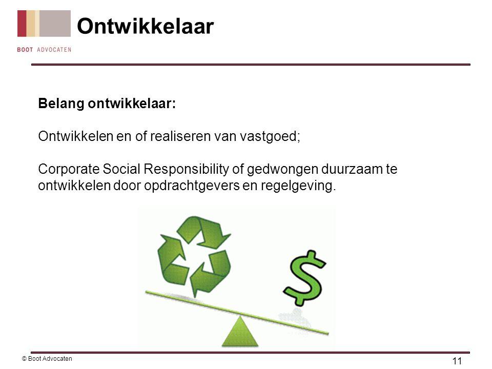 Belang ontwikkelaar: Ontwikkelen en of realiseren van vastgoed; Corporate Social Responsibility of gedwongen duurzaam te ontwikkelen door opdrachtgeve