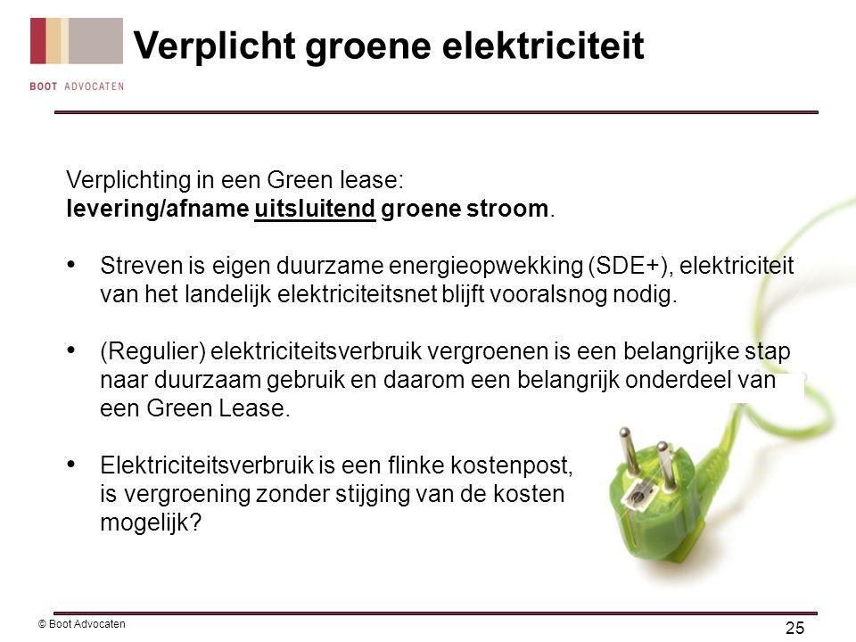 Verplichting in een Green lease: levering/afname uitsluitend groene stroom. • Streven is eigen duurzame energieopwekking (SDE+), elektriciteit van het