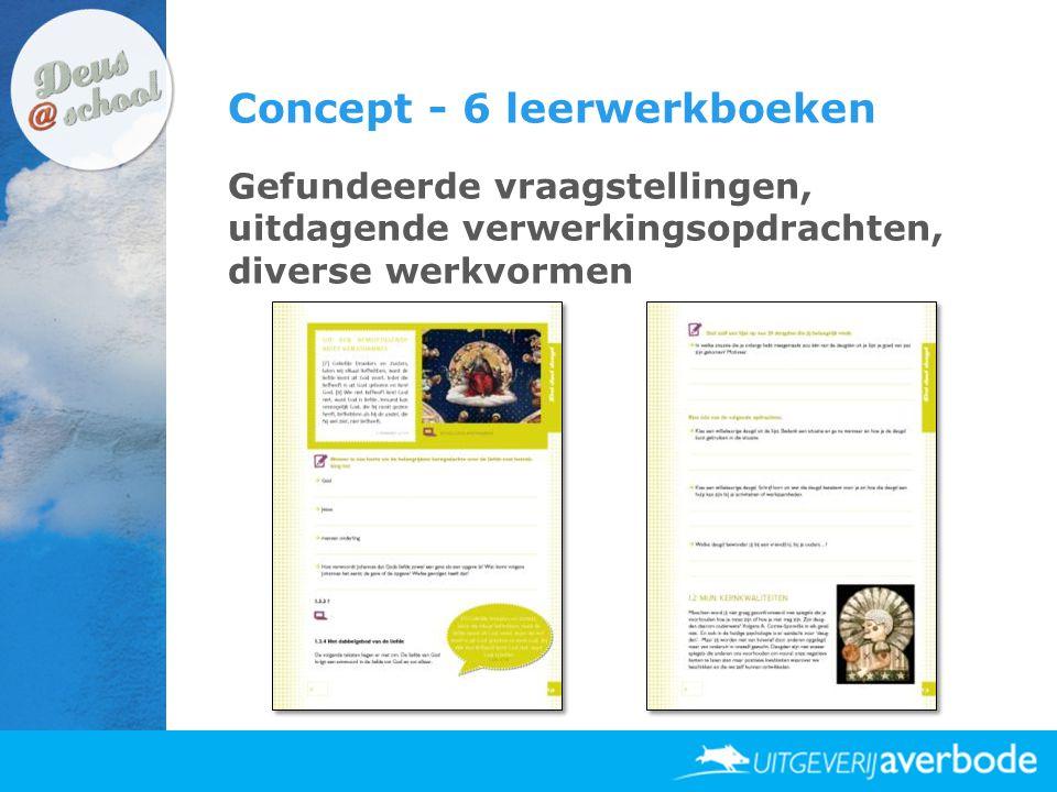 Concept - 6 leerwerkboeken Gefundeerde vraagstellingen, uitdagende verwerkingsopdrachten, diverse werkvormen