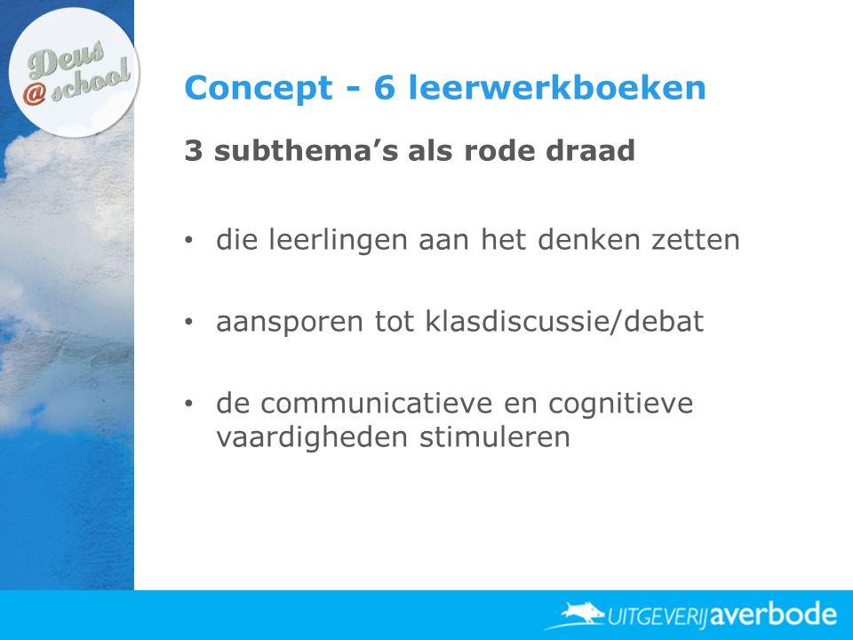 Concept - 6 leerwerkboeken 3 subthema's als rode draad • die leerlingen aan het denken zetten • aansporen tot klasdiscussie/debat • de communicatieve