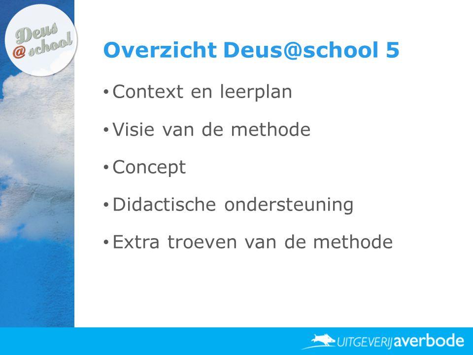 Overzicht Deus@school 5 • Context en leerplan • Visie van de methode • Concept • Didactische ondersteuning • Extra troeven van de methode