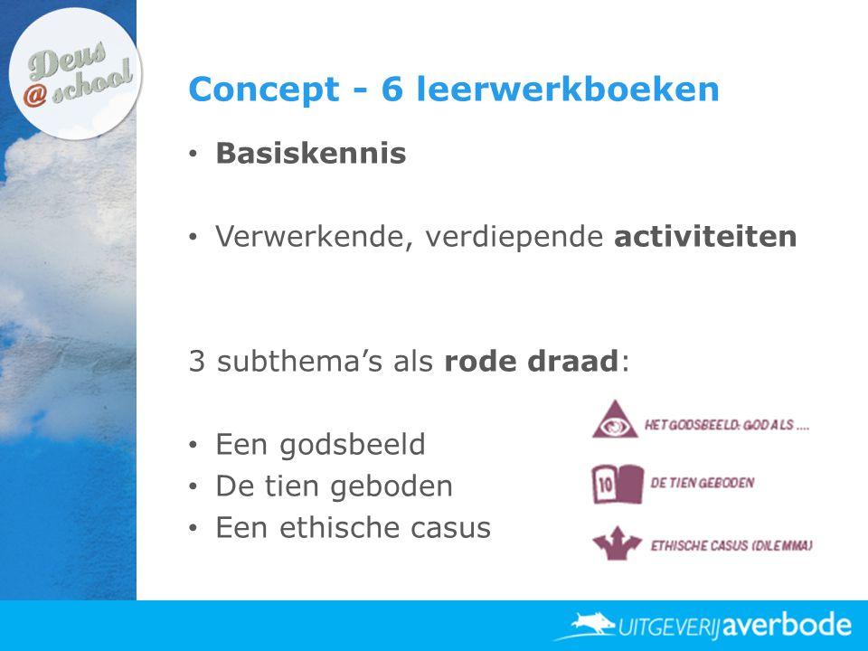 Concept - 6 leerwerkboeken • Basiskennis • Verwerkende, verdiepende activiteiten 3 subthema's als rode draad: • Een godsbeeld • De tien geboden • Een