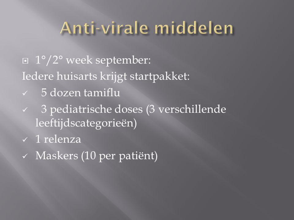  1°/2° week september: Iedere huisarts krijgt startpakket:  5 dozen tamiflu  3 pediatrische doses (3 verschillende leeftijdscategorieën)  1 relenza  Maskers (10 per patiënt)