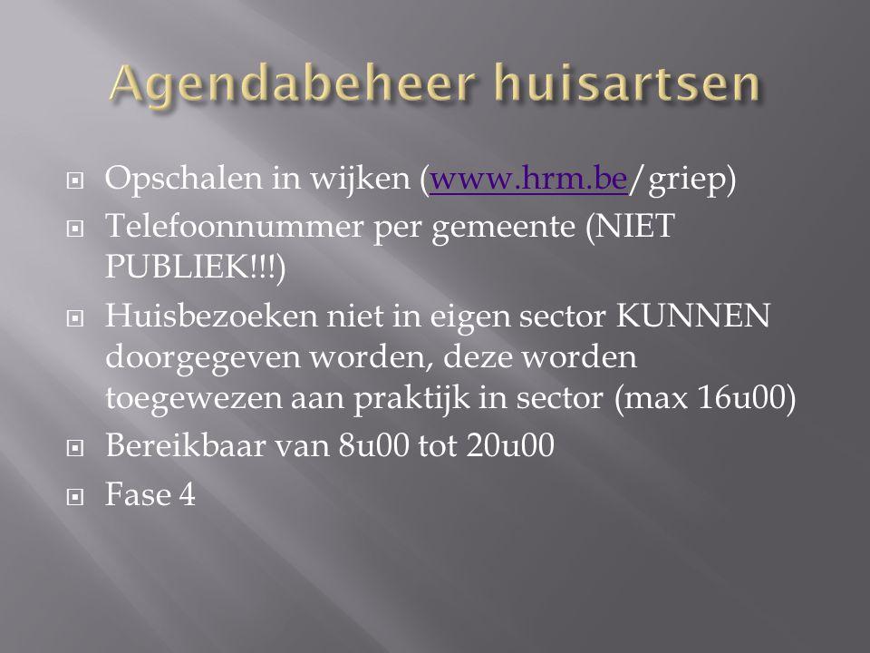  Opschalen in wijken (www.hrm.be/griep)www.hrm.be  Telefoonnummer per gemeente (NIET PUBLIEK!!!)  Huisbezoeken niet in eigen sector KUNNEN doorgegeven worden, deze worden toegewezen aan praktijk in sector (max 16u00)  Bereikbaar van 8u00 tot 20u00  Fase 4