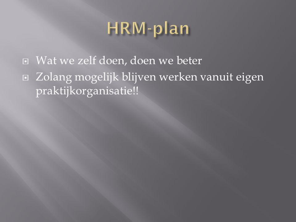  Wat we zelf doen, doen we beter  Zolang mogelijk blijven werken vanuit eigen praktijkorganisatie!!