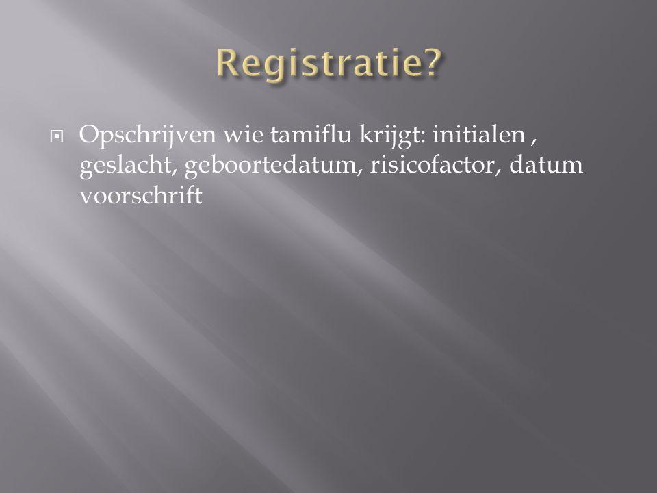  Opschrijven wie tamiflu krijgt: initialen, geslacht, geboortedatum, risicofactor, datum voorschrift