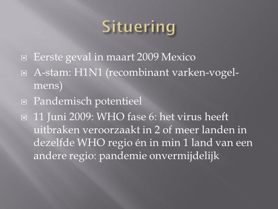  Eerste geval in maart 2009 Mexico  A-stam: H1N1 (recombinant varken-vogel- mens)  Pandemisch potentieel  11 Juni 2009: WHO fase 6: het virus heeft uitbraken veroorzaakt in 2 of meer landen in dezelfde WHO regio én in min 1 land van een andere regio: pandemie onvermijdelijk