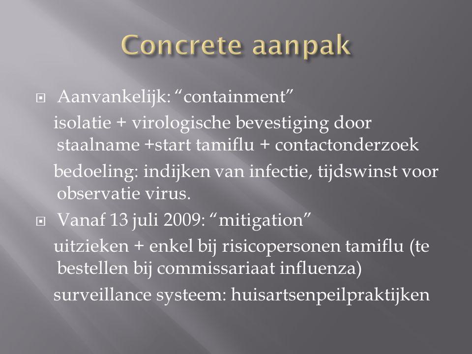  Aanvankelijk: containment isolatie + virologische bevestiging door staalname +start tamiflu + contactonderzoek bedoeling: indijken van infectie, tijdswinst voor observatie virus.