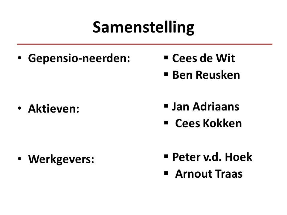 Samenstelling • Gepensio-neerden: • Aktieven: • Werkgevers:  Cees de Wit  Ben Reusken  Jan Adriaans  Cees Kokken  Peter v.d.