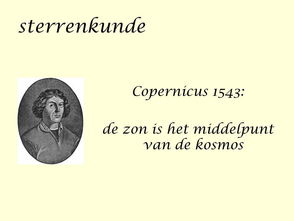 sterrenkunde Copernicus 1543: de zon is het middelpunt van de kosmos