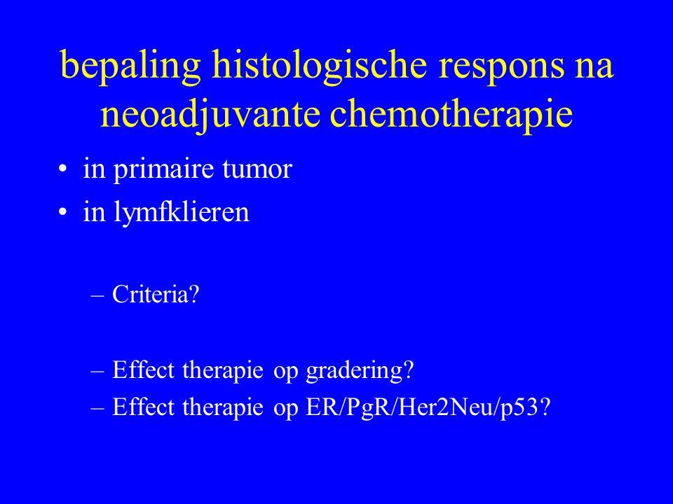 bepaling histologische respons na neoadjuvante chemotherapie •in primaire tumor •in lymfklieren –Criteria.