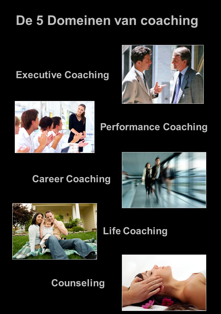 De 5 Domeinen van coaching Executive Coaching Performance Coaching Career Coaching Life Coaching Counseling