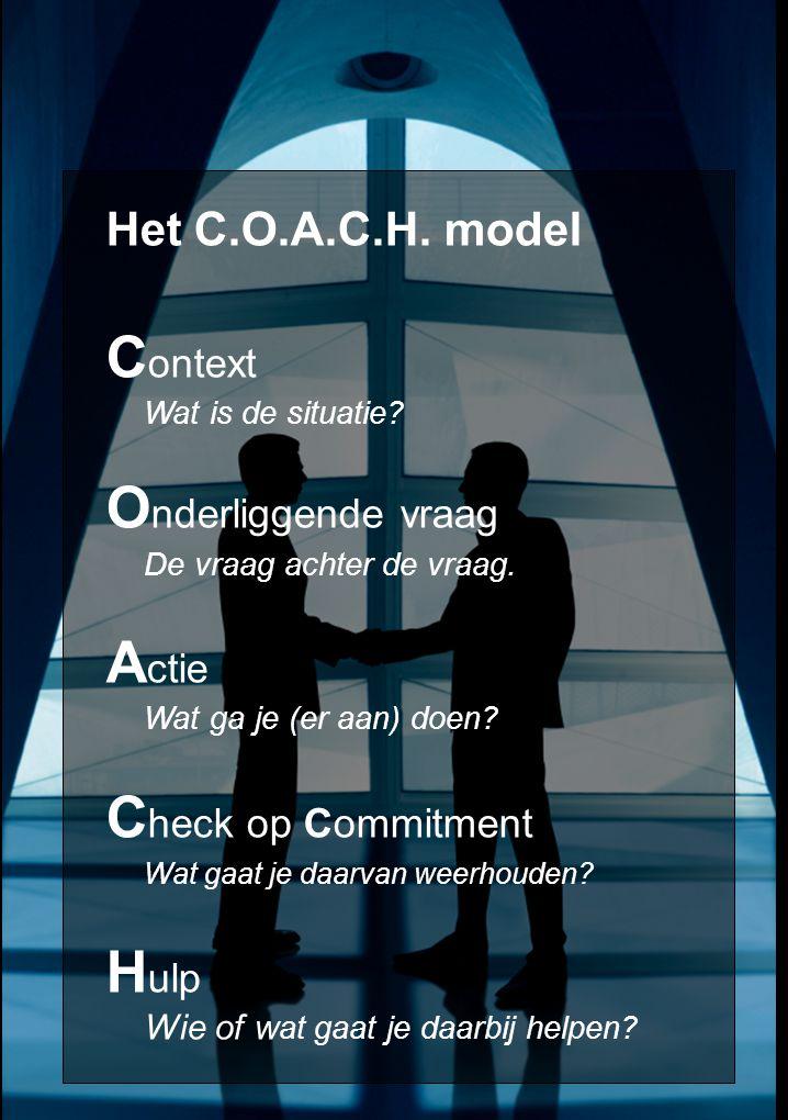 Het C.O.A.C.H. model C ontext Wat is de situatie.