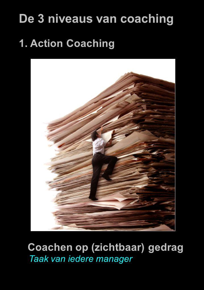 De 3 niveaus van coaching 1. Action Coaching Coachen op (zichtbaar) gedrag Taak van iedere manager